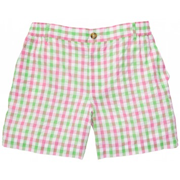 Seersucker Short: Pink and Green